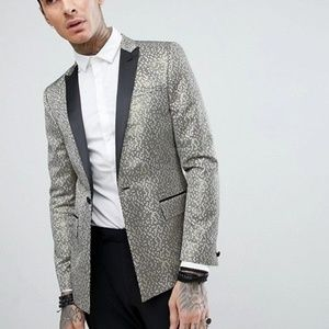 ASOS Skinny Tuxedo Suit Jacket in Gold Honeycomb